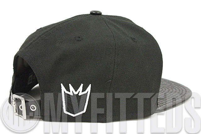 Megatron Sharp Word Jet Black & Faux Croc Skin Glacial White Original Fit New Era Strapback