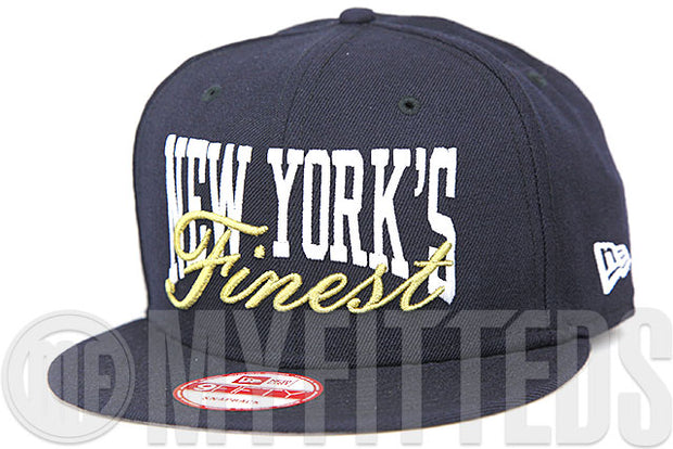 New York's Finest Midnight Navy Glacial White Metallic Gold Custom New Era 9FIFTY Snapback Hat