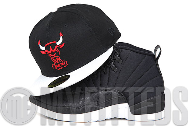 "Chicago Bulls Jet Black Glacial White Scarlet Air Jordan XII ""Neoprene"" Matching New Era Hat"