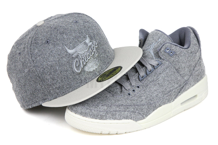 "Chicago Bulls Gray Melton Sandstone Carbon Graphite Air Jordan III Retro ""Wool"" Matching New Era Hat"
