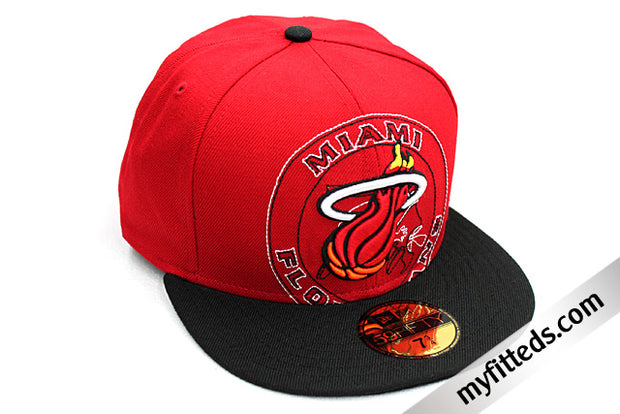 MIAMI HEAT Scarlet Black Sunset Mixin 59Fifty New Era Fitted Hat
