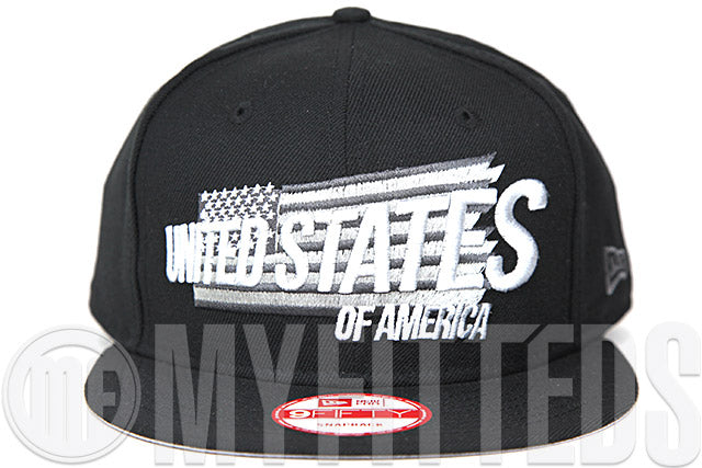 United States of America Jet Black Stealth Grey Spur Silver Pearl Custom New Era Snapback Hat