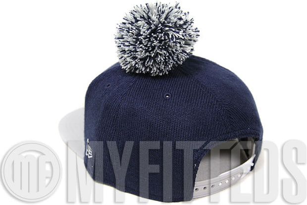 Dallas Cowboys Bobble Game Navy Blue Grey White New Era Pom Knit Snapback