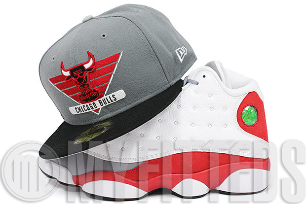 Chicago Bulls Wolf Storm Grey Jet Black Radiant Red Air Jordan XIII Grey Toe New Era Fitted Hat
