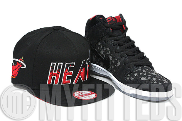 Miami Heat Spillmatic Splatter Design Jet Black White Scarlet New Era 9FIFTY Snapback
