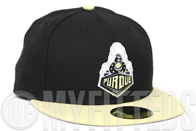Purdue Boilermakers Jet Black Fresh Vanilla Bean Old Gold NCAA Team Color New Era Fitted Cap