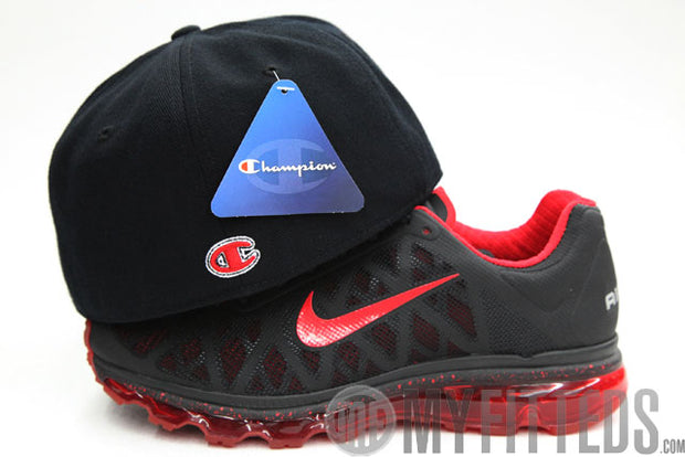 Champion Classic Jet Black Scarlet Chenille Scarlet Fitted Cap
