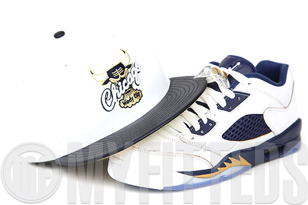 "Chicago Bulls Glacial White Faux Midnight Navy Leather Air Jordan V Low ""Dunk From Above"" Matching New Era Hat"