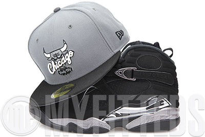"Chicago Bulls Wolf Storm Grey Jet Black Air Jordan VIII ""Chrome"" I ""Rare AIr"" Matching New Era Fitted Cap"