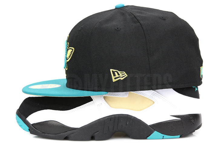 "Seattle Pilots Jet Black Pure Aqua Metallic Gold Air Diamond Turf ""Emerald"" New Era Fitted Cap"