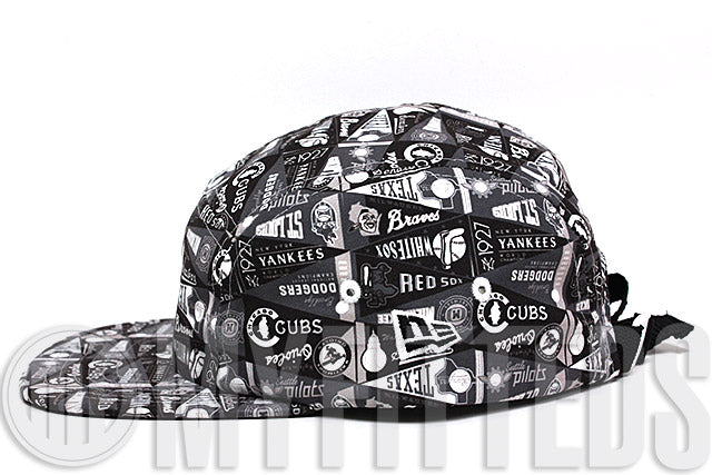 MLB Reach for the Pennants All Over Full Print Black and White 5 Panel New Era Strapback Hat