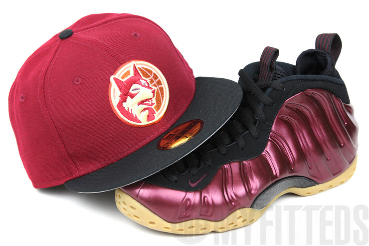 Minnesota Timberwolves Russet Sunset Jet Black Night Maroon Foamposite New Era Fitted Cap