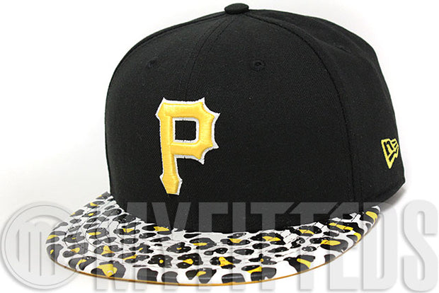 Pittsburgh Pirates Ostrich Leopard Print Leather Visor Jet Black White Maize Yellow New Era Strapback