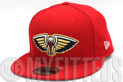 New Orleans Pelicans Scarlet Navy Blue Metallic Gold Primary New Era Hat