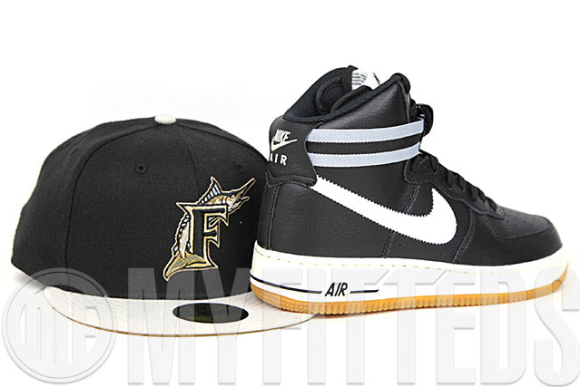 Florida Marlins Jet Black Sandstone Wheat Toast Air Force 1 High '07 Matching New Era Hat