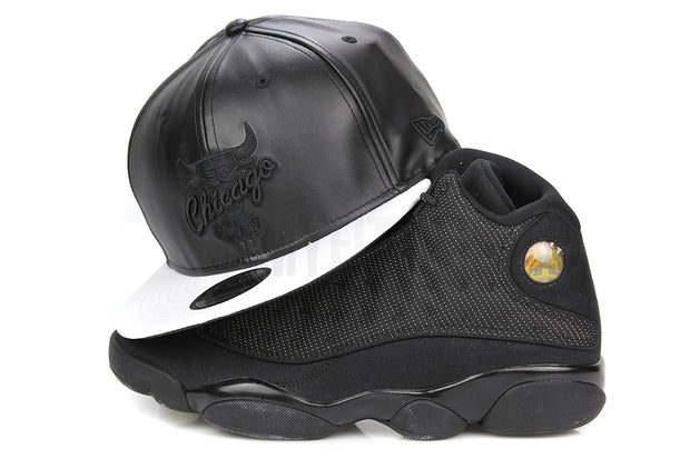 "Chicago Bulls Jet Black Faux Leather Glacial White Air Jordan VI Retro ""Black Cat"" New Era Snapback"