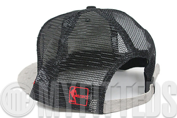Miami Heat Ostravize Jet Black Trucker Mesh Grey Faux Ostrich Leather New Era Strapback Hat