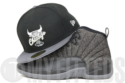 "Chicago Bulls Jet Black Carbon Graphite Silver Air Jordan VIII ""Chrome"" & XII ""Wool"" New Era Hat"