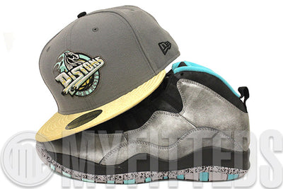 Detroit Pistons Wolf Storm Grey Metallic Silver Seaglass Air Jordan X Lady Liberty Matching New Era Hat