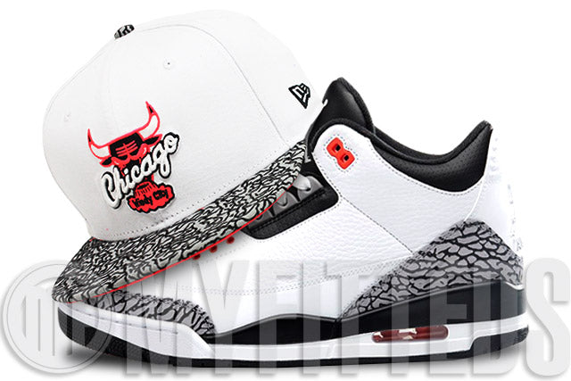 Chicago Bulls Glacial White Elephant Infrared Bliss Air Jordan III Infrared Matching New Era Hat