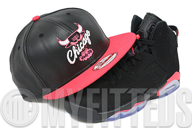 06e673c4a8e8 ... coupon chicago bulls jet black faux leather infrared bliss air jordan  vi infrared matching new era