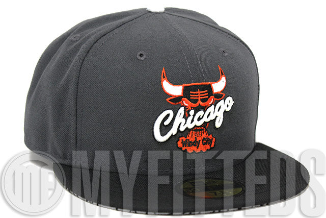 Chicago Bulls Smoke Grey Black Orange White Air Jordan Retro 3 Fear Matching New Era Hat