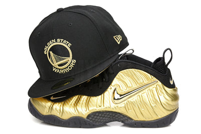 "Golden State Warriors Jet Black Gold Foil Air Foamposite Pro ""Metallic Gold"" New Era Hat"