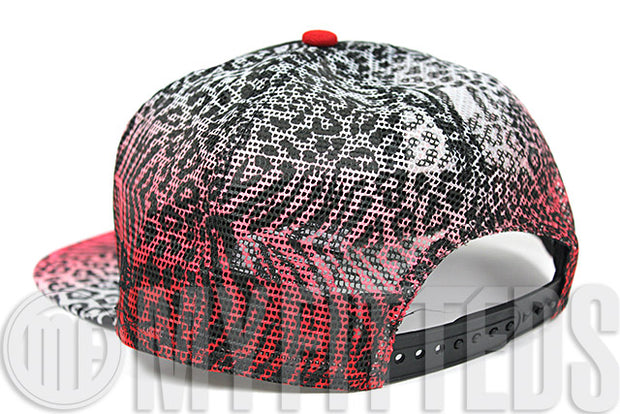 Cleveland Indians Jet Black Fading Red White Leopard Print Mesh New Era Trucker Snapback