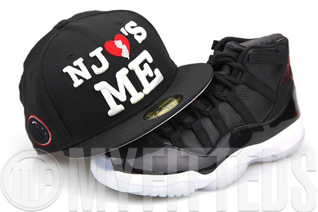 "New Jersey NJ Loves Me Jet Black Scarlet Air Jordan XI ""72-10"" Matching New Era Fitted Cap"