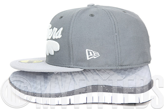 Cleveland Cavaliers Wolf Storm Grey Placid Grey Air Foamposite Grey Suede Matching New Era Hat