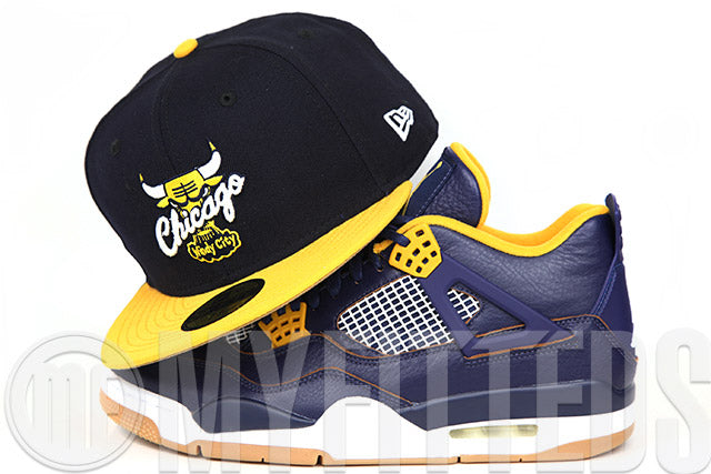 "Chicago Bulls Midnight Navy Argent Gold Wheat Toast Air Jordan IV ""A Dunk From Above"" New Era Hat"