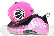 Orlando Magic Vibrant Pink Jet Black Polarized Pink Air Foamposite One Matching New Era Hat