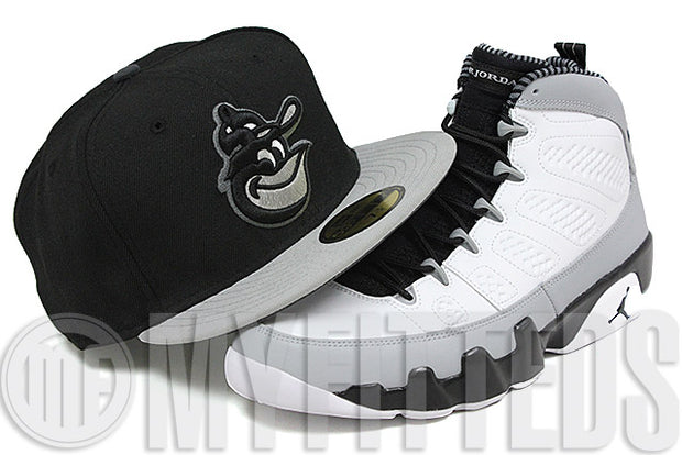 Baltimore Orioles Jet Black Wolf Storm Grey Gunmetal White Air Jordan IX Barons New Era Fitted Hat