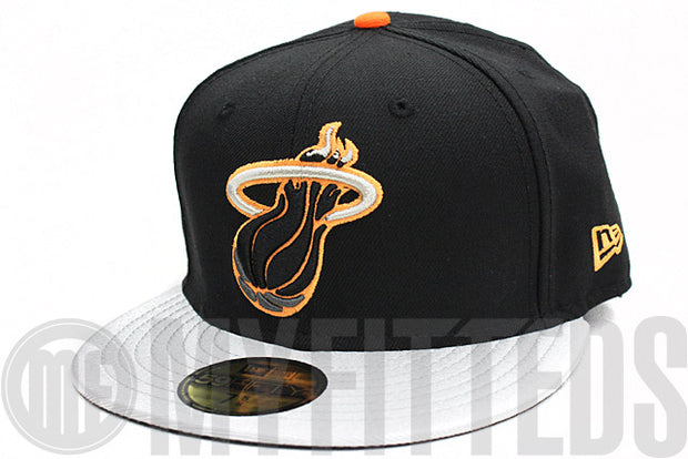 Miami Heat Black Metallic Silver Bright Orange New Era Fitted Hat