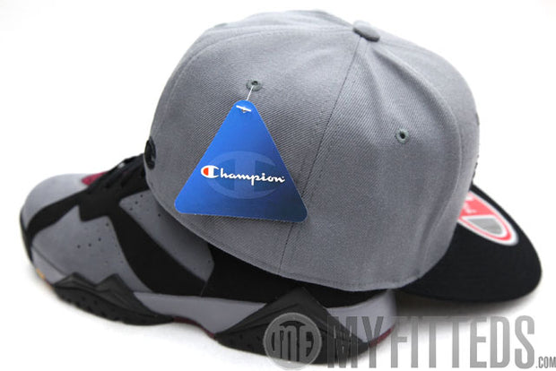 Champion Big C Placid Grey Black Chenille Black Logo Fitted Cap