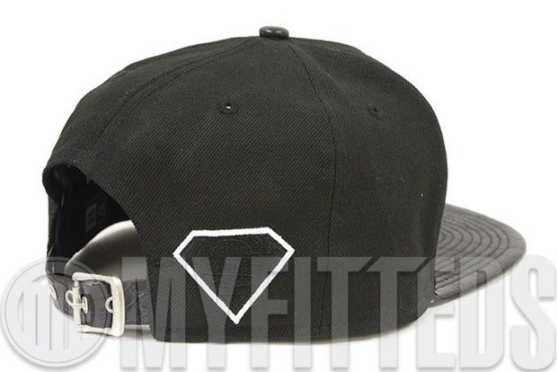 Superman Sharp Word Jet Black & Faux Croc Skin Glacial White Original Fit New Era Strapback