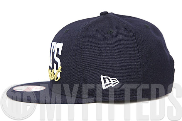 Cali's Finest Midnight Navy Glacial White Metallic Gold Custom New Era 9FIFTY Snapback Hat