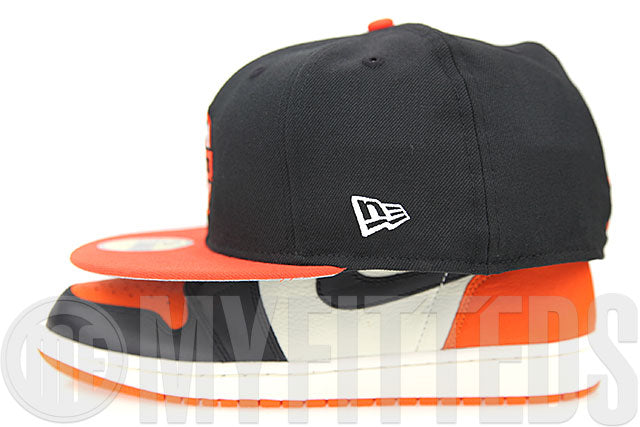 Denver Rockets Jet Black Orangeade Glacial White Air Jordan I Shattered Backboard New Era Fitted Cap