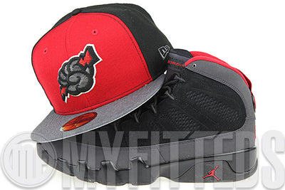 Trenton Thunder Garnet Fire Jet Black Carbon Graphite Heather Air Jordan IX Charcoal New Era Hat