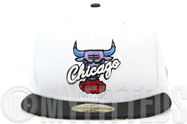 "Chicago Bulls Glacial White Jet Black Air Jordan VII ""Ugly Sweater"" Matching New Era Fitted Cap"