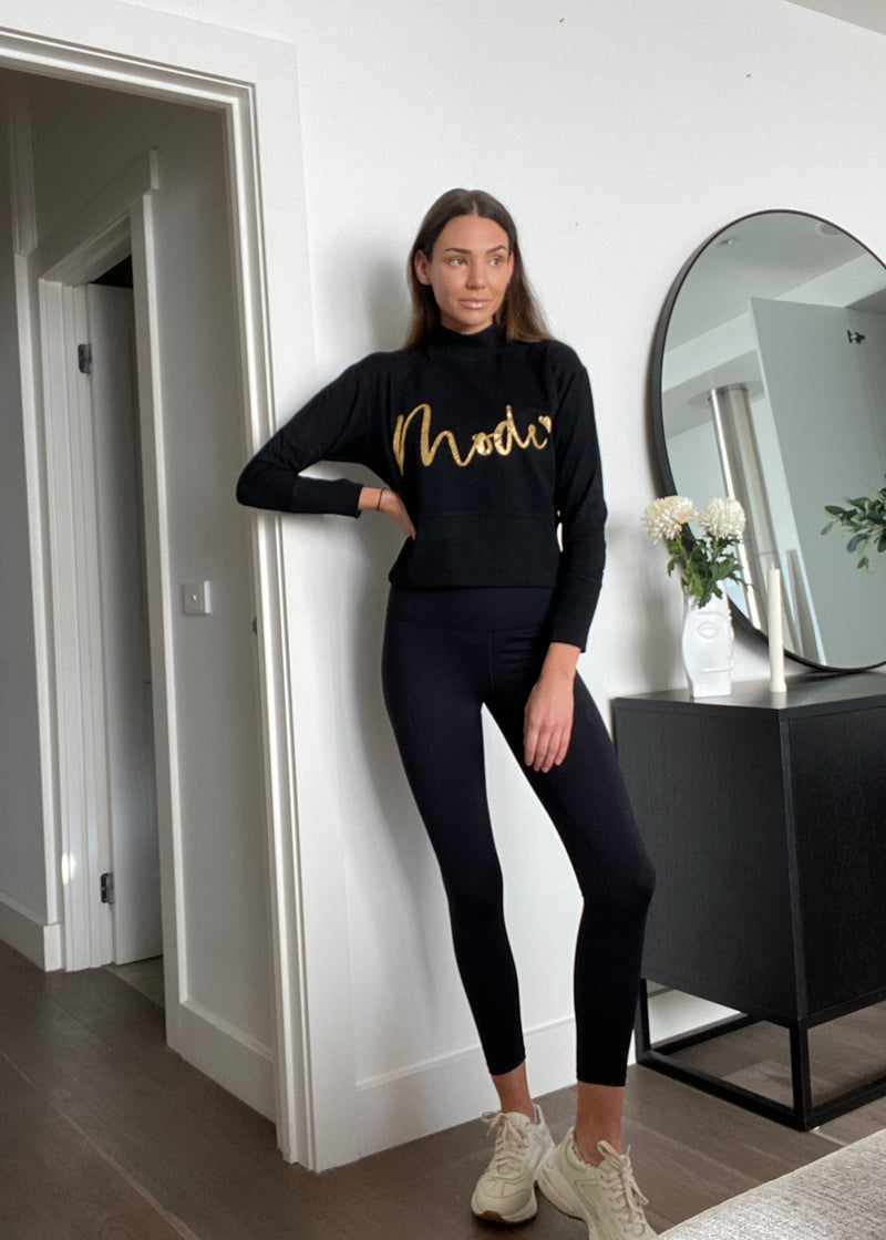 SEQUIN MOTIF MODE SWEATSHIRT - BLACK