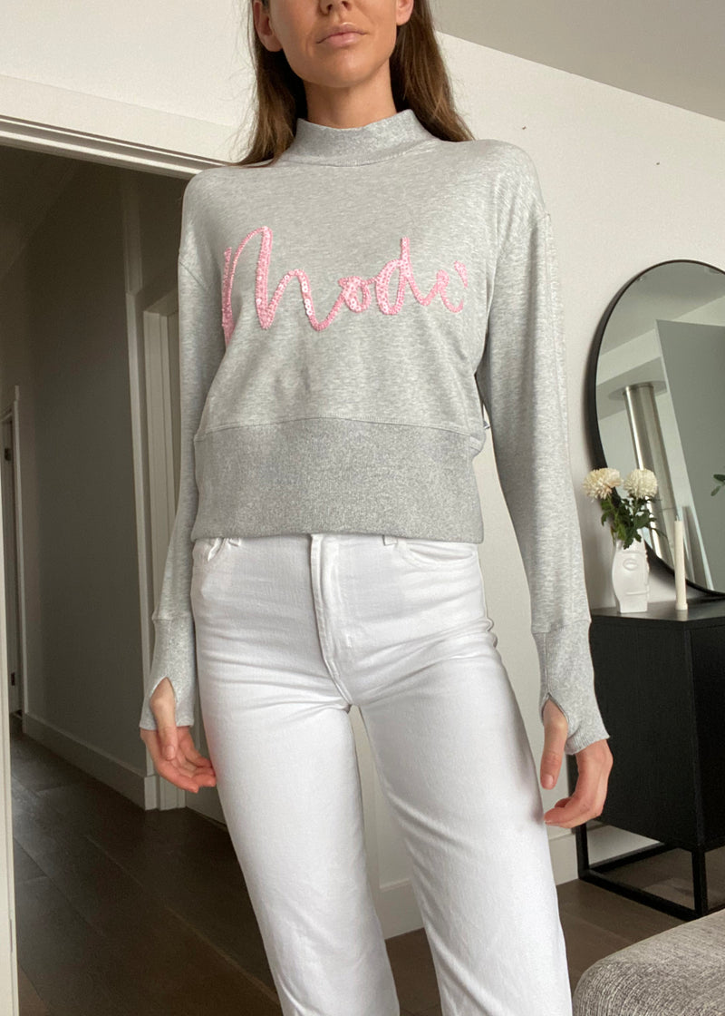 SEQUIN MOTIF MODE SWEATSHIRT - GREY