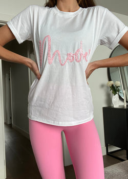 SEQUIN MOTIF MODE T-SHIRT - WHITE & PINK