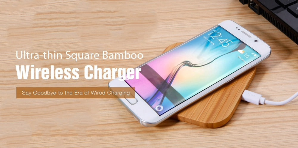 Wooden Slim Bamboo Wireless Charger Luxtrak