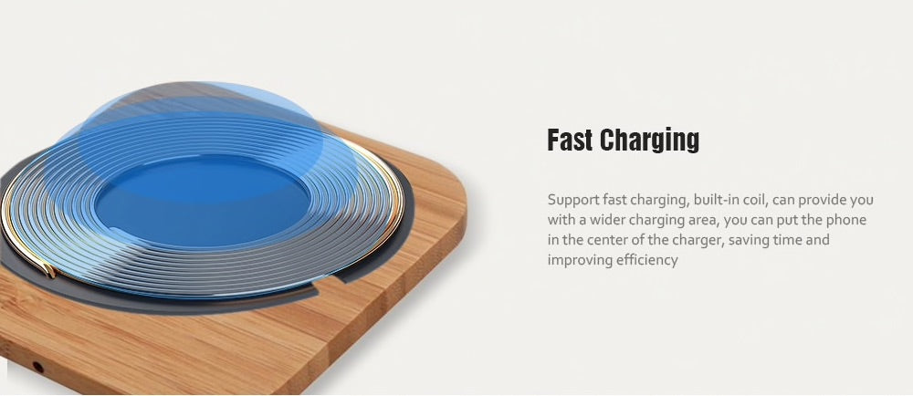 Wooden Slim Bamboo Wireless Charger Luxtrak Fast Charge