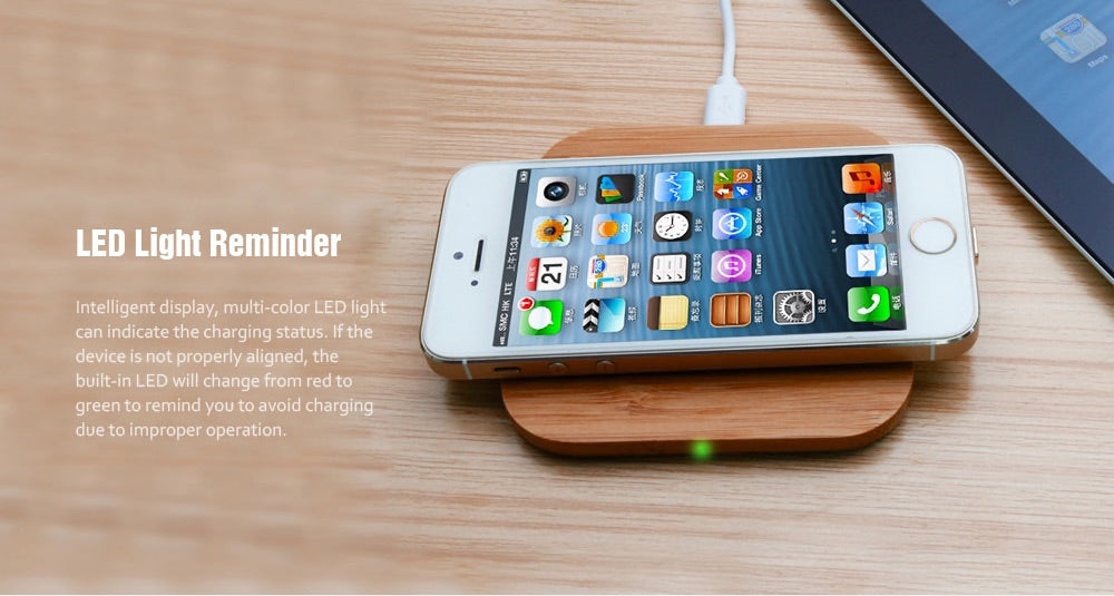 Wooden Slim Bamboo Wireless Charger Luxtrak LED