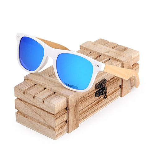 Polarized Wooden Classic White Sunglasses Blue Worldwide - Luxtrak