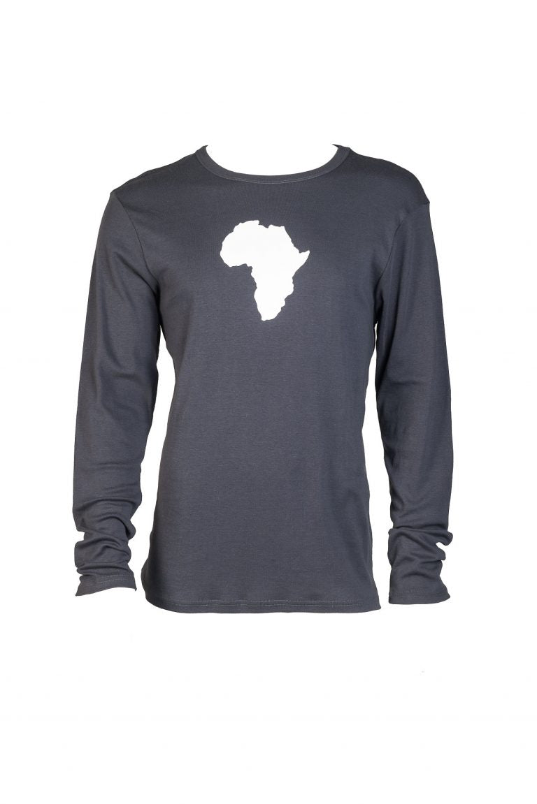 Africa graphic long sleeved cotton t-shirt charcoal