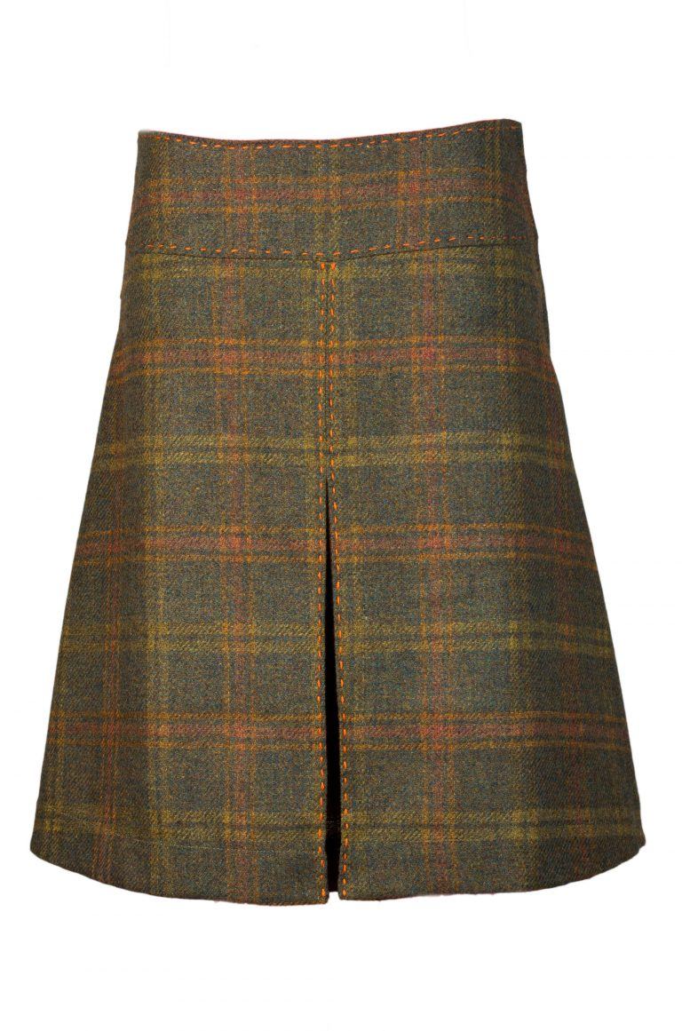 Designer women's tweed green check skirt front box pleat