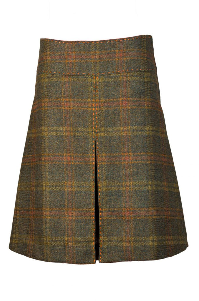 Moss green check tweed skirt box pleat Kingsley